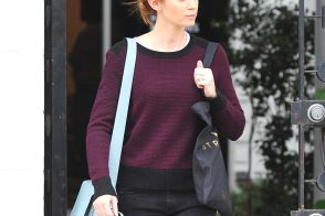 Emily Blunt Leaves the Salon Carrying a Coach Bag
