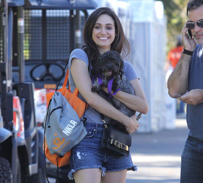 Emmy Rossum adopting a puppy at LACMA Park **NO DAILY MAIL SALES**