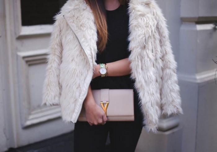 Saint-Laurent-Clutch-and-Fur-Coat