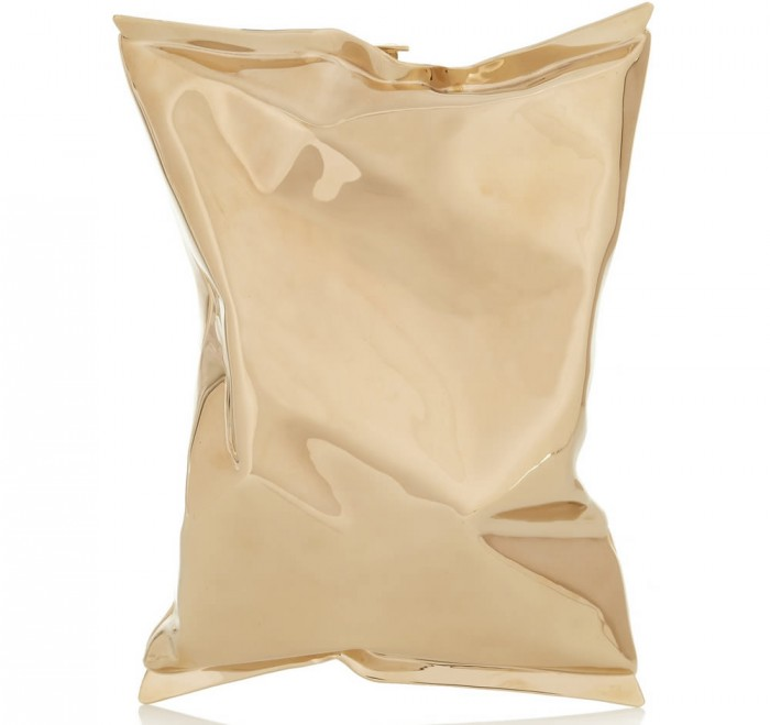 Anya Hindmarch Crisp Packet Clutch Gold