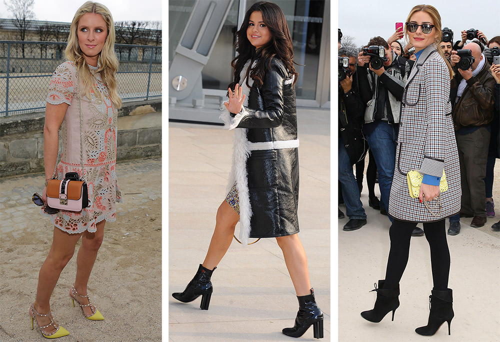 the many shoes of celebrity attendees from paris fashion week fall 2015 purseblog. Black Bedroom Furniture Sets. Home Design Ideas