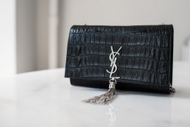 What Fits: Saint Laurent Croc-Embossed Monogramme Shoulder Bag