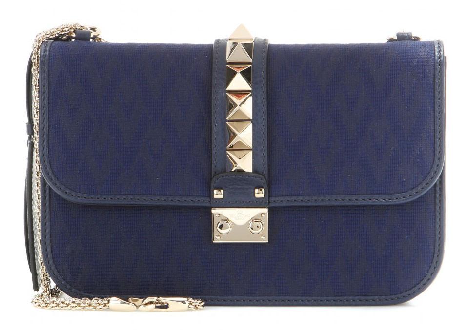 Valentino-Rockstud-Jacquard-and-Leather-Lock-Bag-Navy