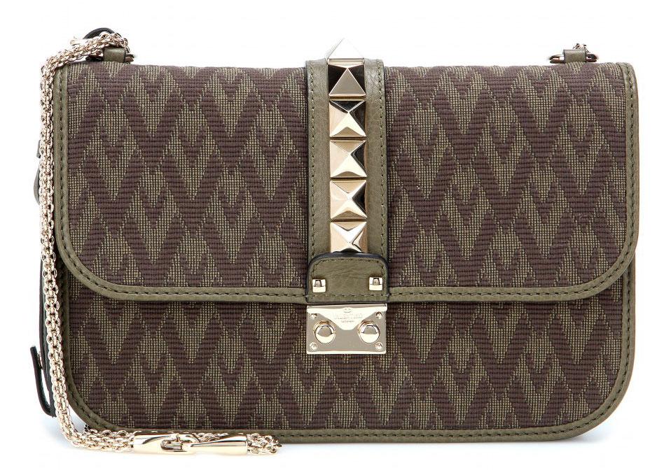 Valentino-Rockstud-Jacquard-and-Leather-Lock-Bag-Olive
