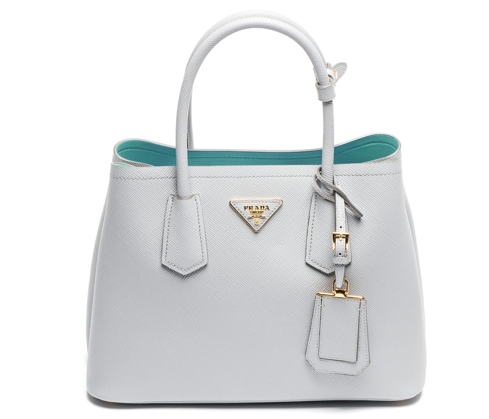 Prada Double Saffiano Cuir Granito and Acquamarina