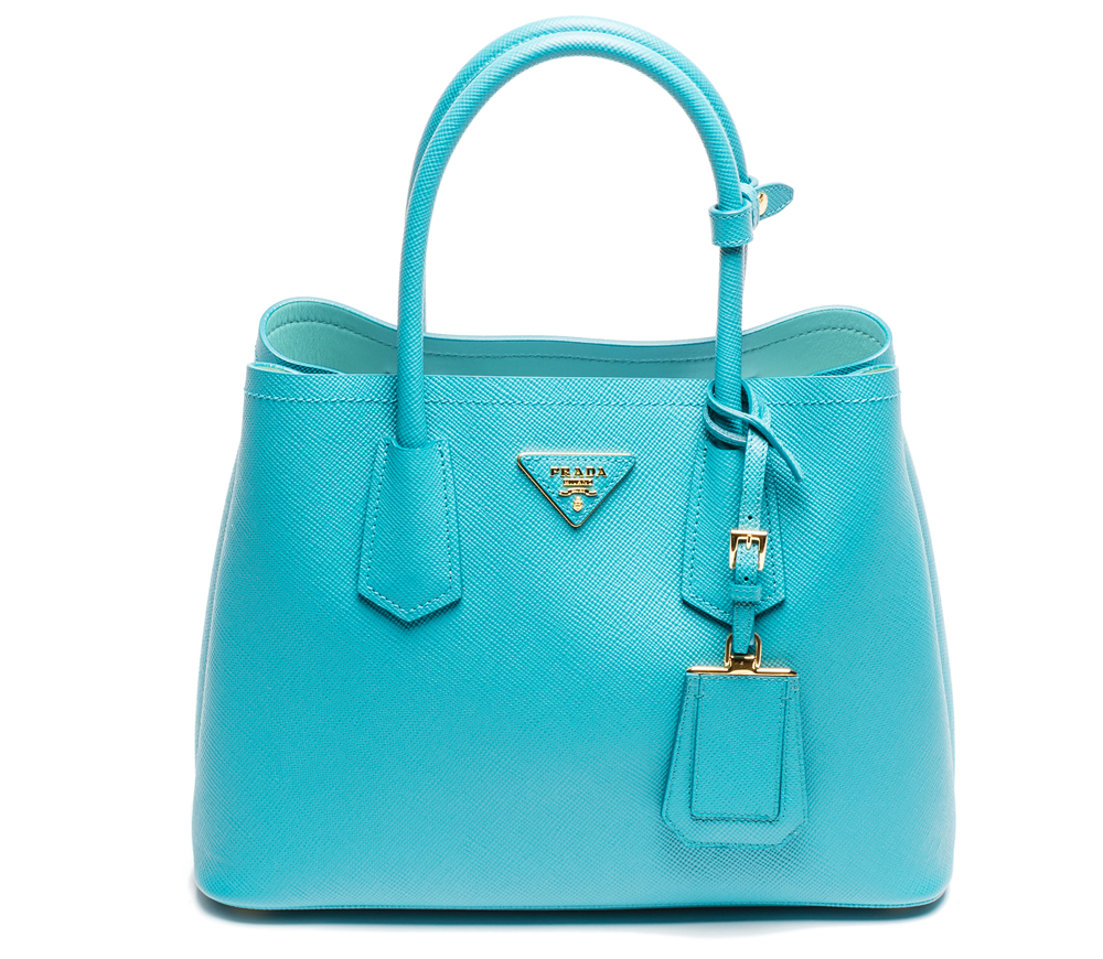 Prada Double Saffiano Cuir Turchese and Acquamarina