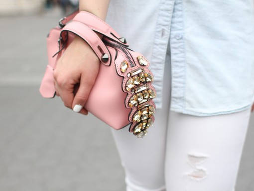 Fendi By The Way Bag Pink Embellished