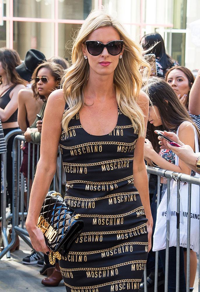 Nicky-Hilton-Moschino-Logo-Shoulder-Bag