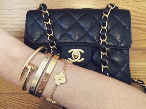 Chanel-Mini-Classic-Flap-Bag-and-Cartier-Love-Bracelets