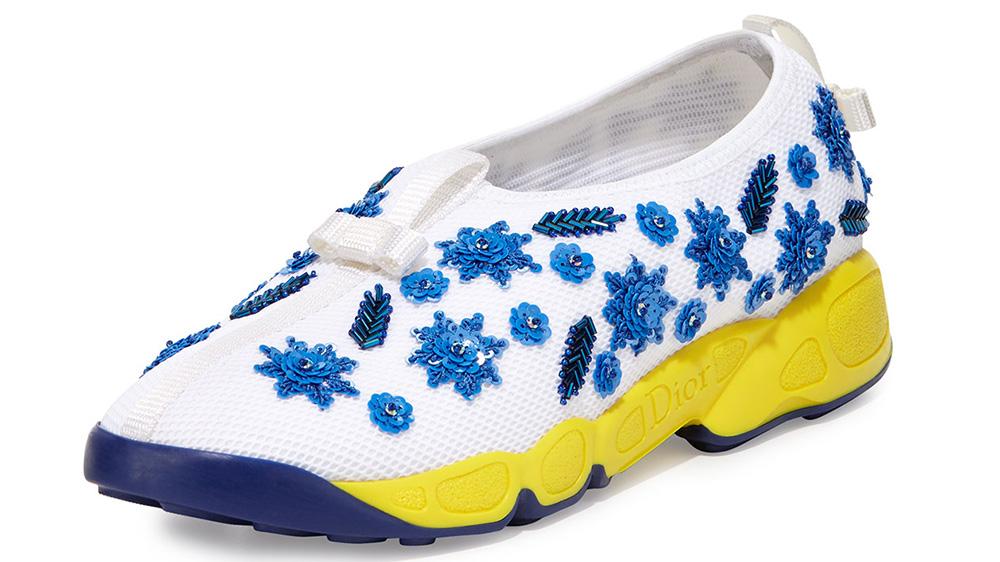 Dior Crystal-Embellished Mesh Slip-On Trainer
