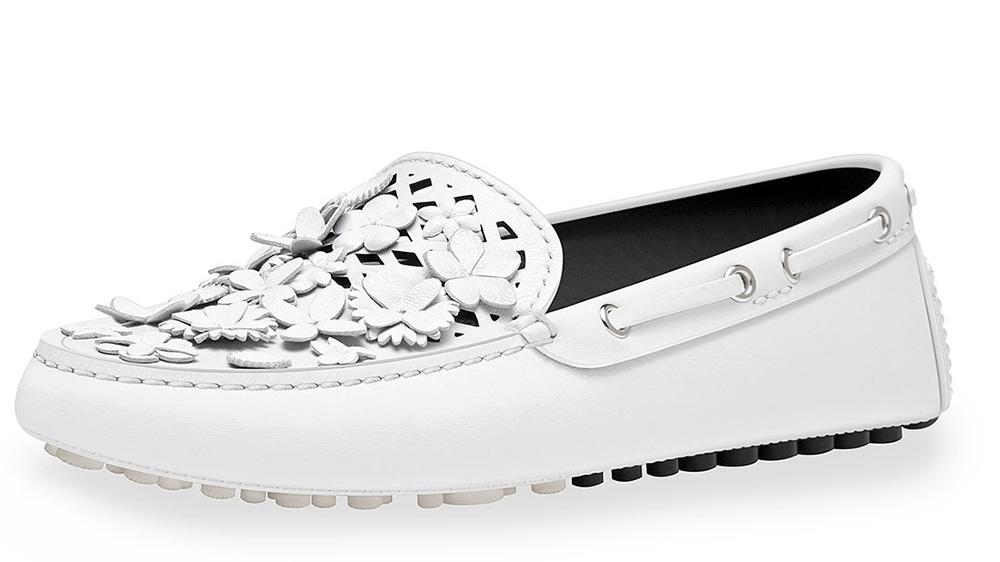 Dior Embellished Leather Driving Loafer_white