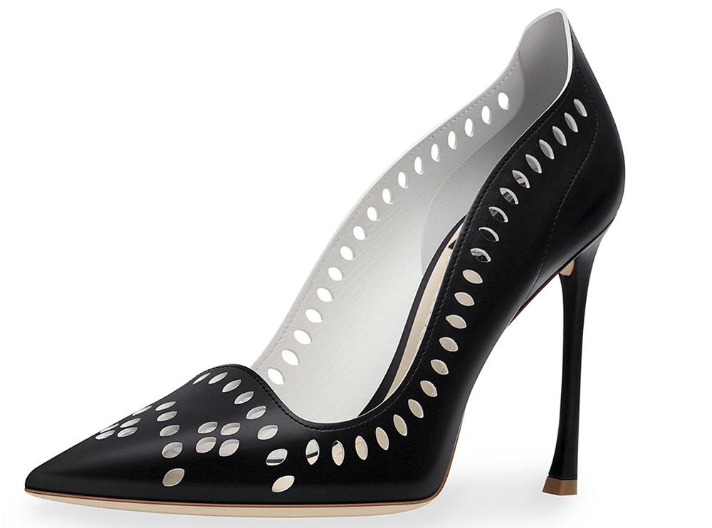 Dior Laser-Cut Leather 100mm Pump_black