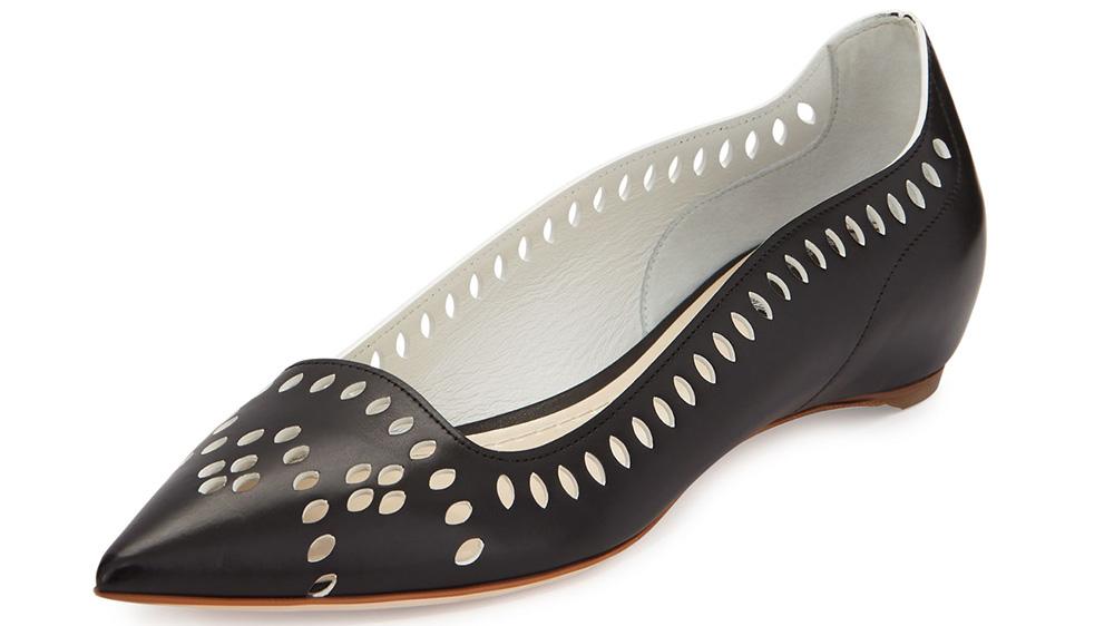 Dior Laser-Cut Leather Point-Toe Flat_black