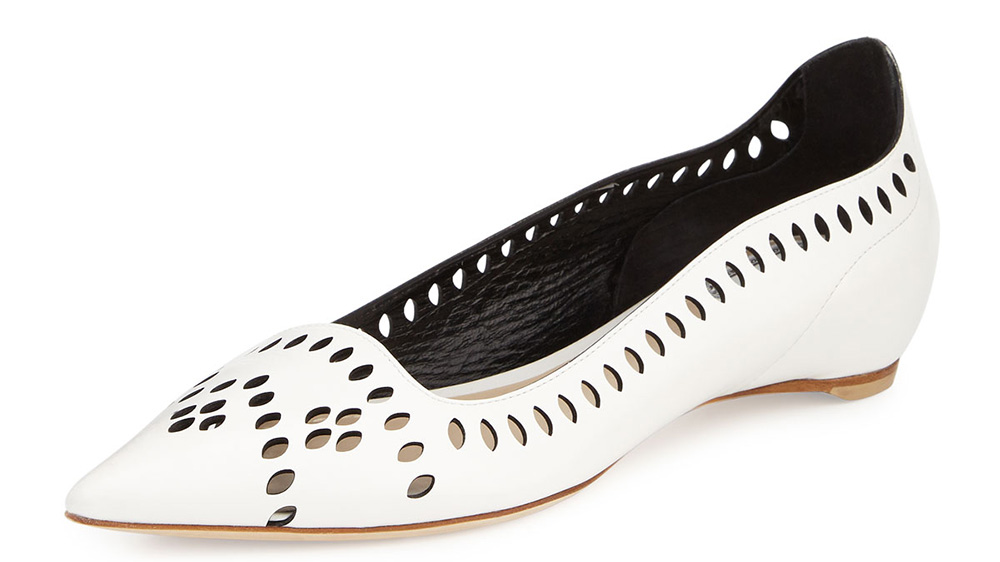 Dior Laser-Cut Leather Point-Toe Flat_white