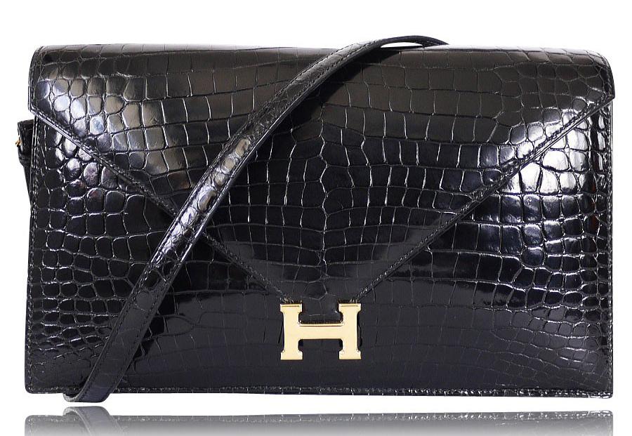 Hermes-Lisse-Lydie-Two-Way-Crocodile-Shoulder-Bag