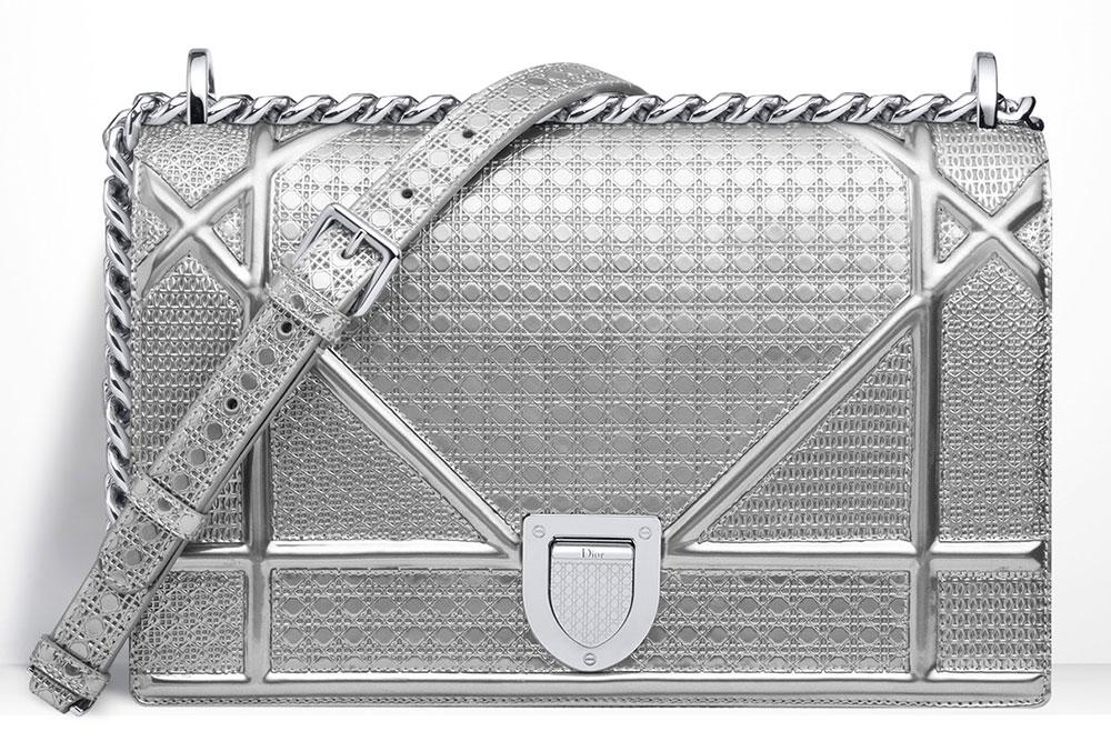 Christian-Dior-Diorama-Silver-Metallic-Mini-Cannage-Perforated-Bag