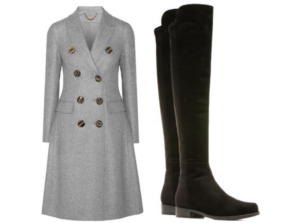 Burberry Prorsum Double-Breasted Cashmere Coat, $3,995, via Net-a-Porter  Stuart Weitzman 5050 Boots, $655 via Stuart Weitzman