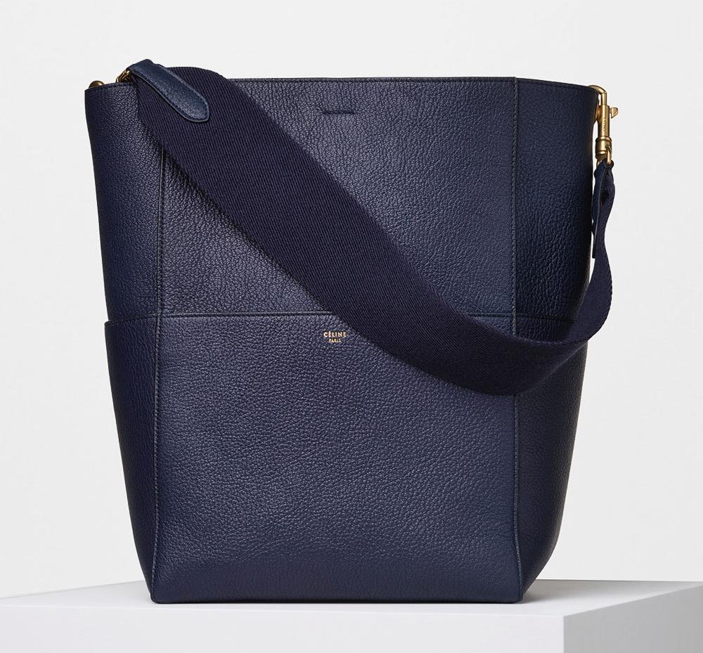 celine navy blue leather shoulder bag