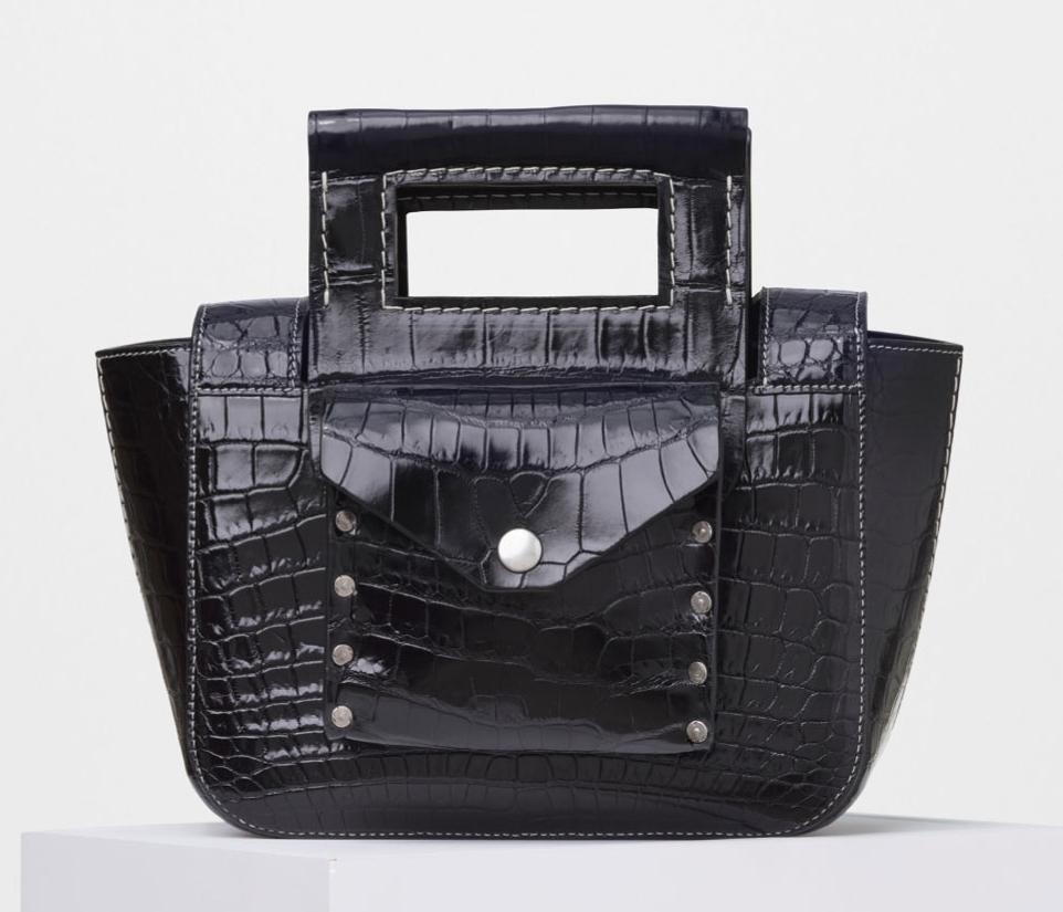 celine black leather and white crocodile medium luggage tote handbag