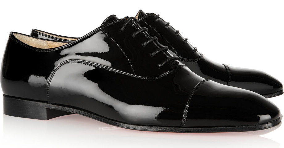 christian louboutin brogue patent leather pumps