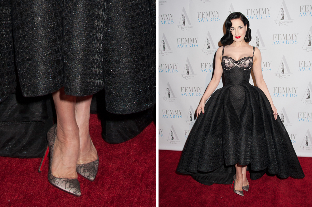 Dita-Von-Teese-Christian-Louboutin-Pigalle-Lace-Pumps