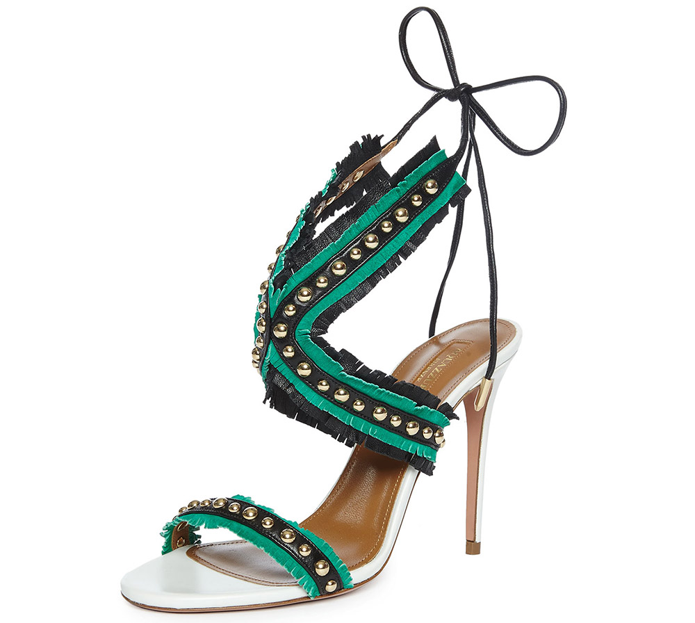 Aquazzura Latin Lover Studded Fringe Sandal
