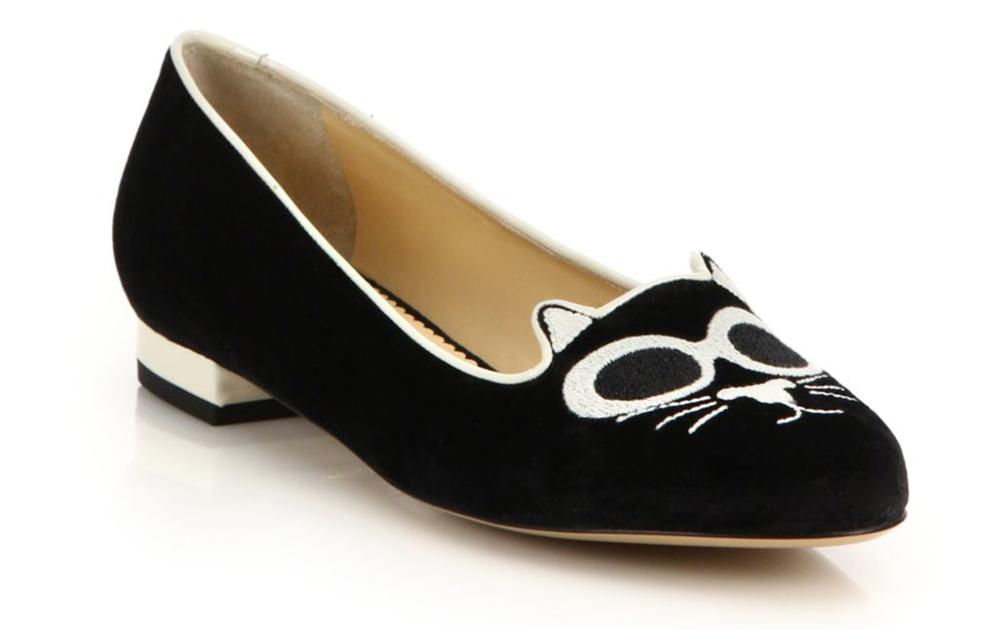 Charlotte Olympia Grunge Kitty Velvet Flats