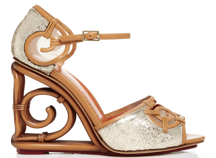Charlotte Olympia Silver Leather And Rattan Detail Wedges