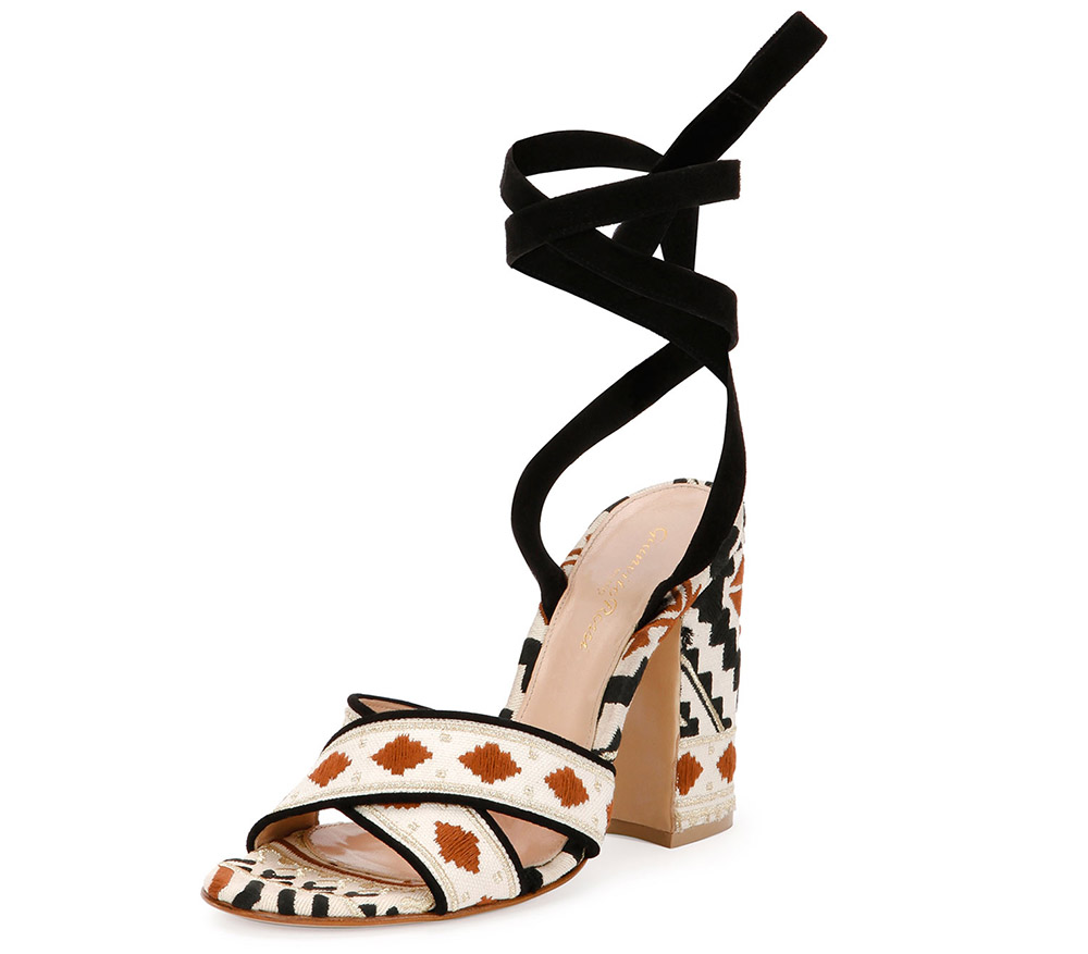 Gianvito Rossi Cheyenne Embroidered Open-Toe Crisscross Sandal