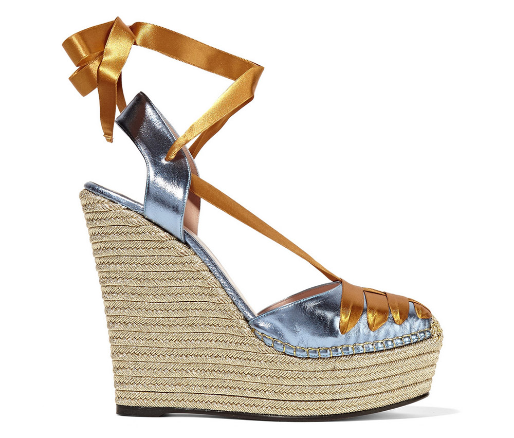 Gucci Metallic Leather and Satin Espadrille Wedge Sandals