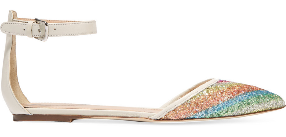 J. Crew Sequined Leather Point-Toe Flats