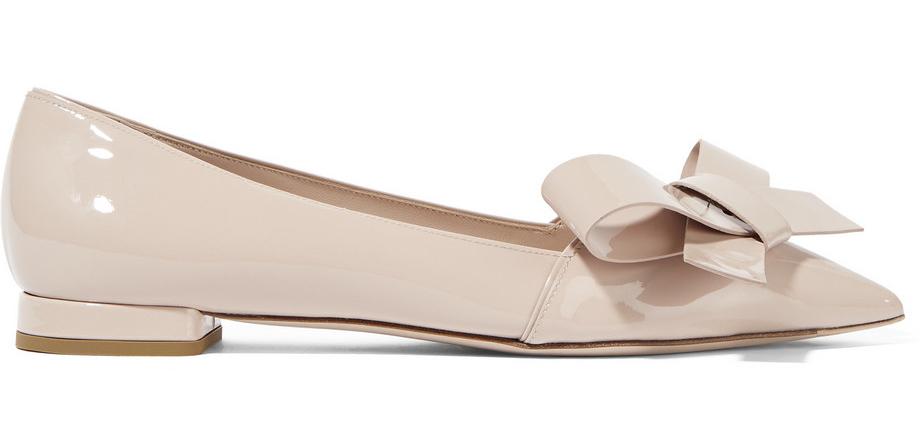 Miu Miu Bow-Embellished Patent-Leather Point-Toe Flats
