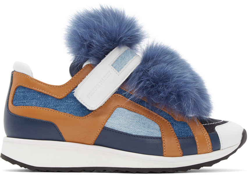 Pierre Hardy  Blue Fur Accent Sneakers