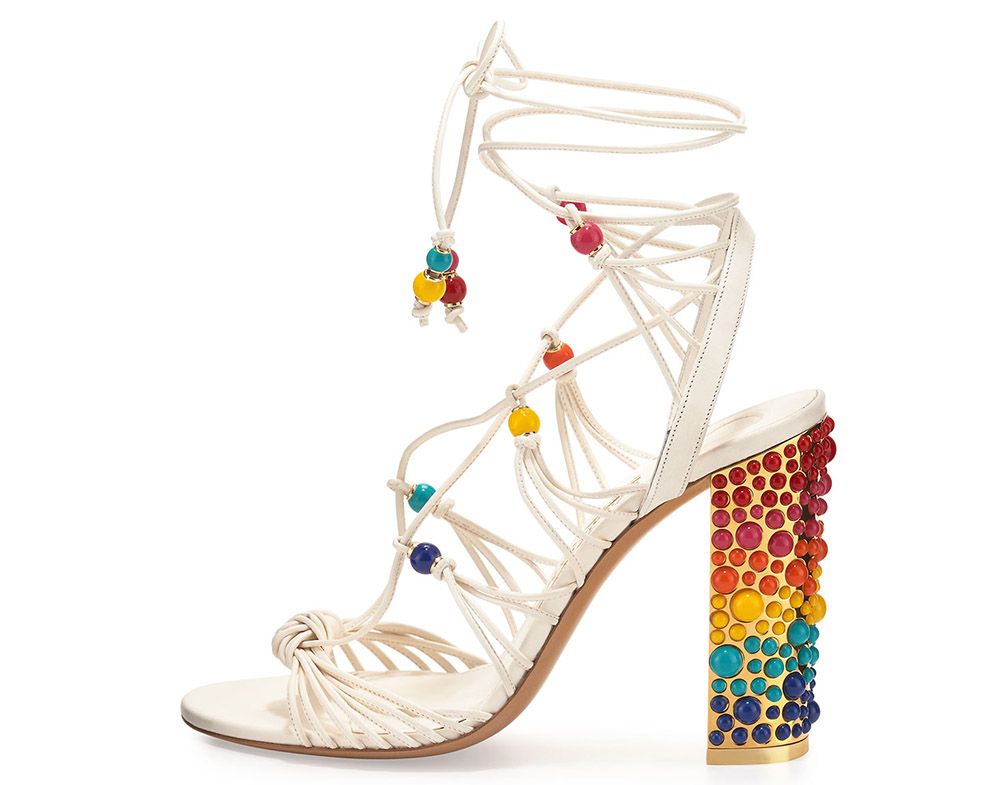 Salvatore Ferragamo Rainbow Beaded Gladiator Sandal