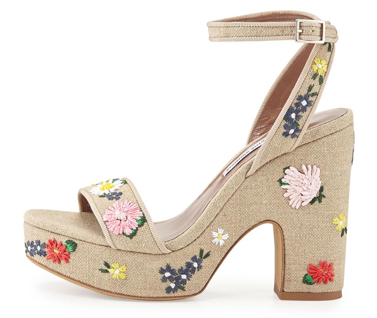 Tabitha Simmons  Calla Embroidered Platform Sandal