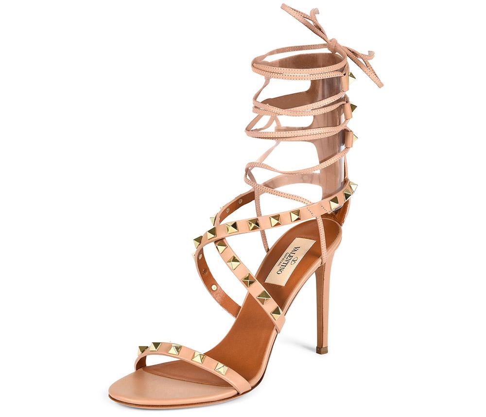 Valentino Rockstud Crisscross Ankle-Wrap Sandal