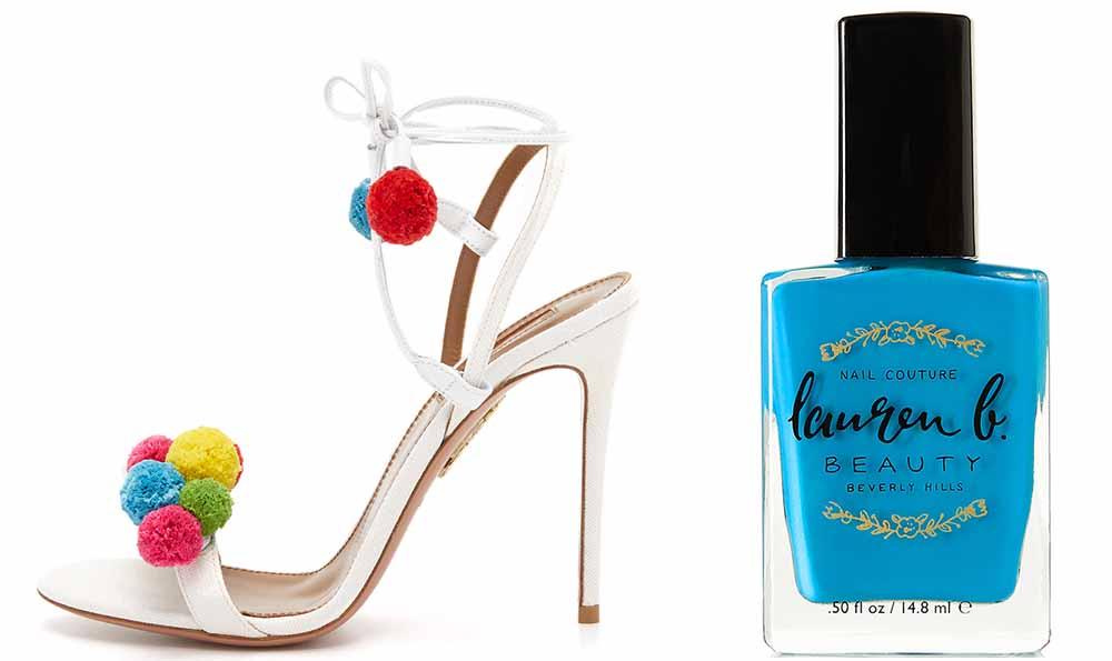 Aquazzura Pon Pon Sandals $825 via ShopBop  Lauren B. Beauty Catalina Cruise Nail Polish $18 via Net-a-Porter