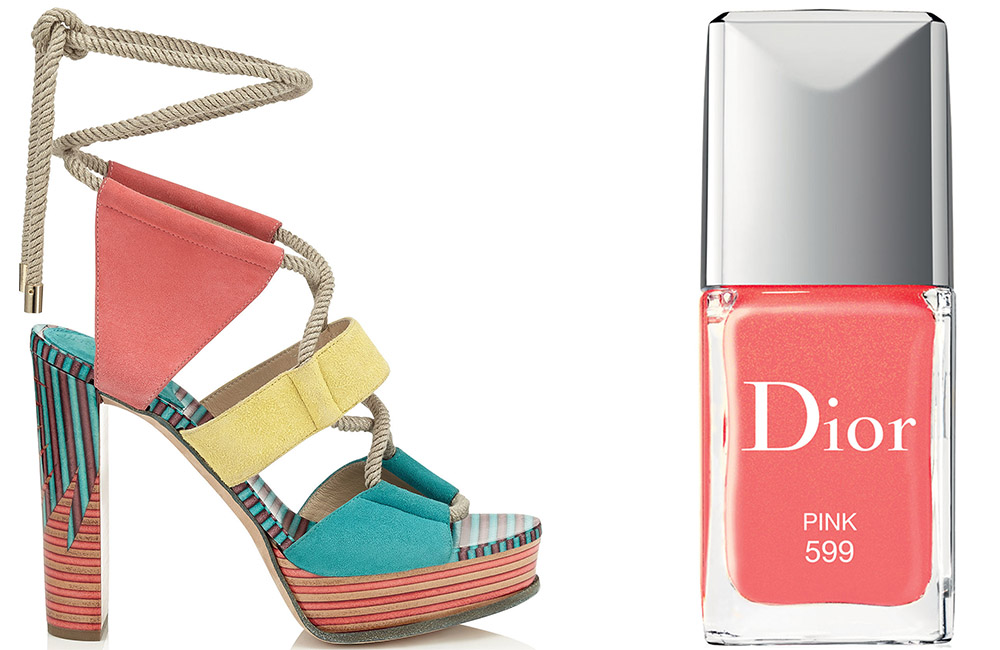 Jimmy Choo Halley Sandal $995 via Jimmy Choo  Dior Vernis Pink Couture Color $27 via Bergdorf Goodman