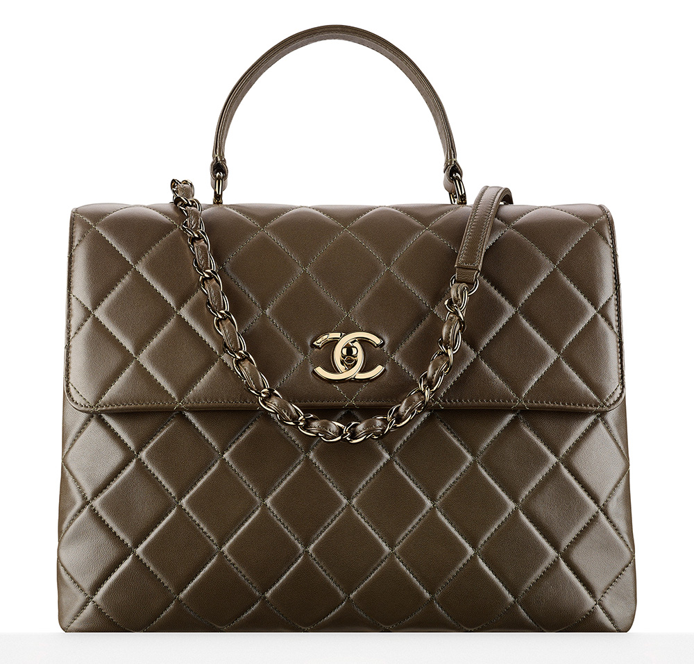 Chanel-Flap-Bag-With-Handle-Olive-Green-7000