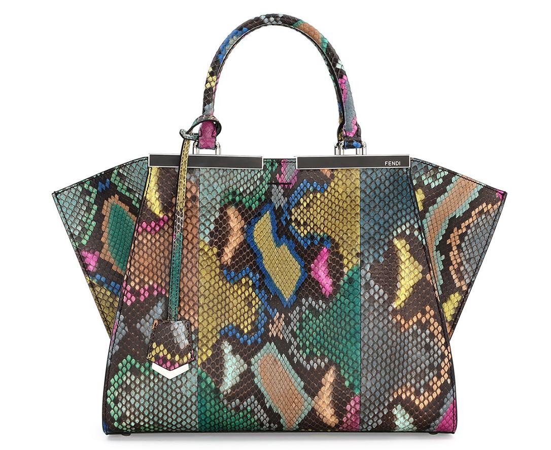 Fendi Trois-Jour Petite Painted Python Tote Bag