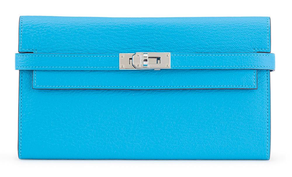 Hermes-Kelly-Long-Wallet-Blue-Aztec-Chevre-
