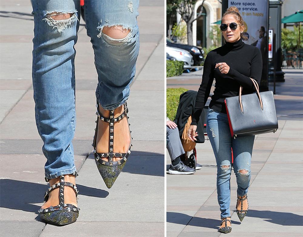 Jennifer-Lopez-Valentino-Rockstud-Strass-Camo-Flats