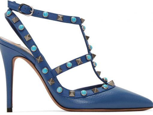 Valentino  Blue Stone & Rockstud Cage Heels