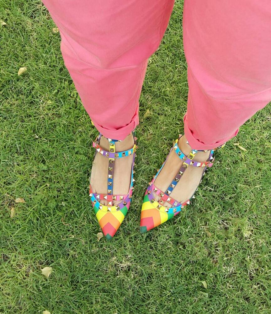 tPF Member: Eroshry  Shoes: Valentino Rockstud Chevron Print Flats  Shop: $1,145 via Nordstrom