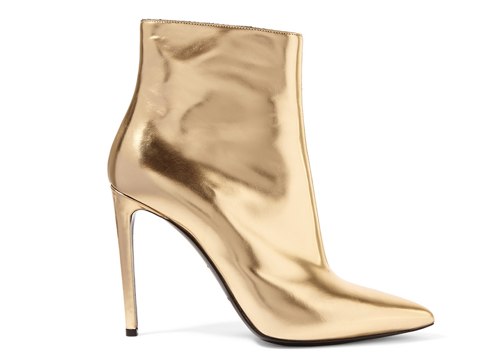 Balenciaga Mirrored-Leather Ankle Boots