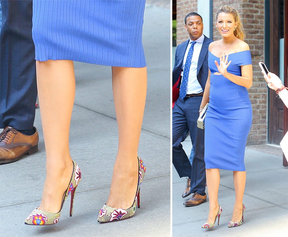 Blake-Lively-Christian-Louboutin-Floral-Pumps