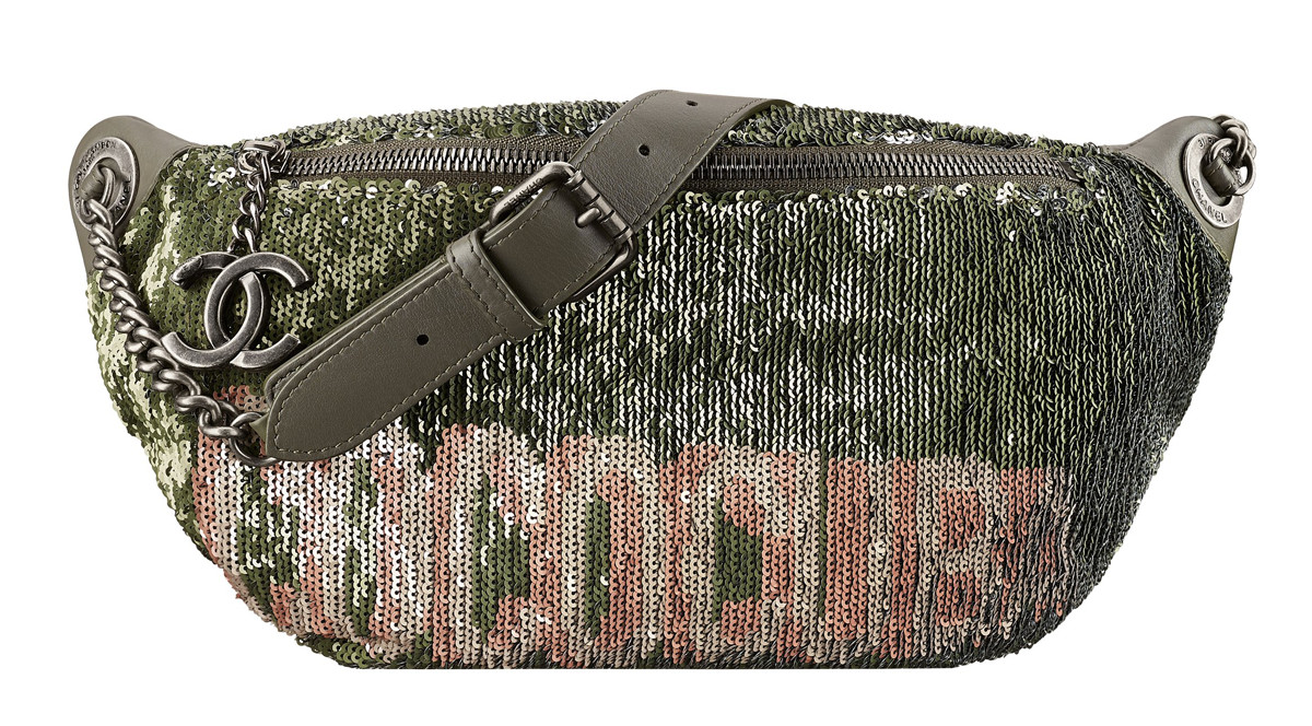Chanel Cuba Belt bag embroidered with khaki and pink sequins