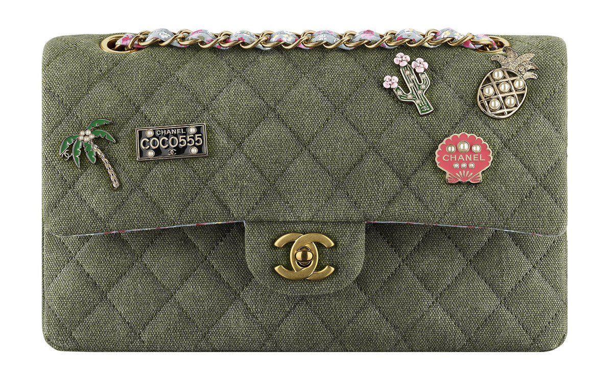Chanel Cuba Khaki Quilted Toile Bag
