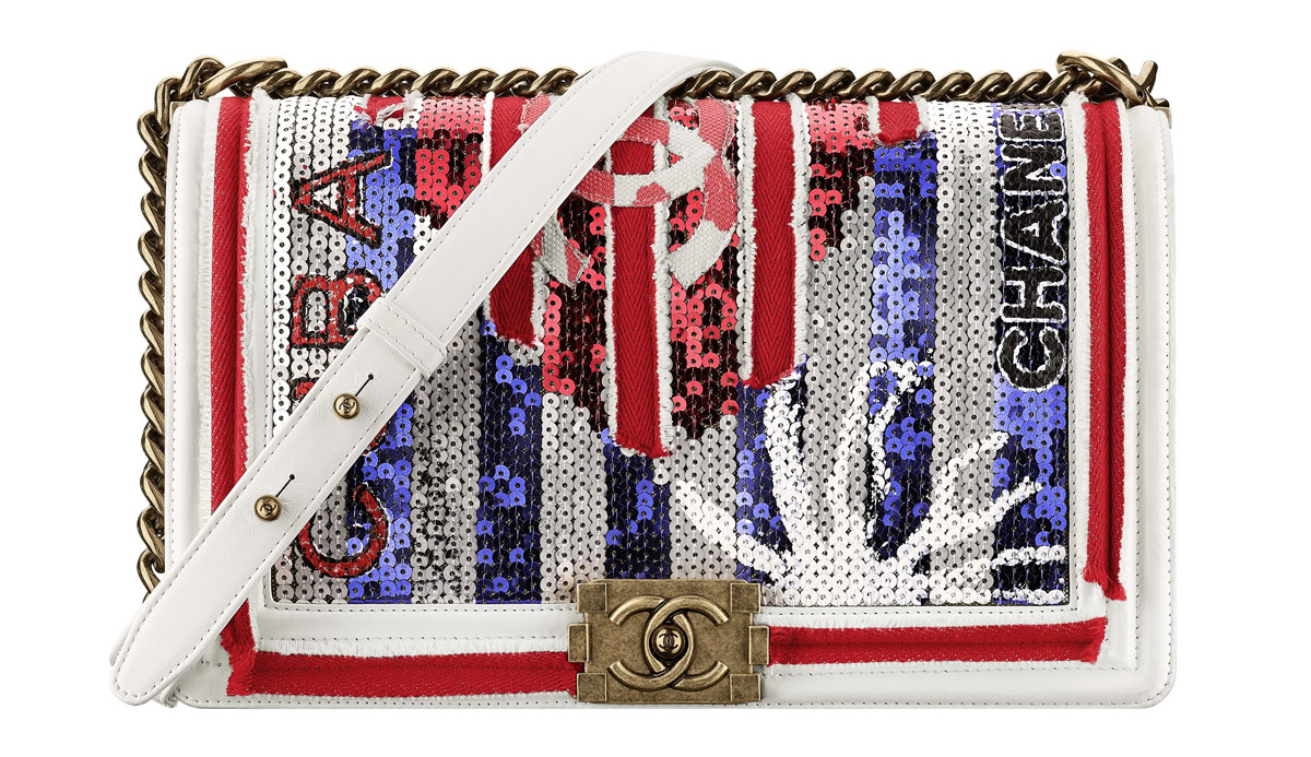 Chanel Cuba White embroidered leather BOY CHANEL bag