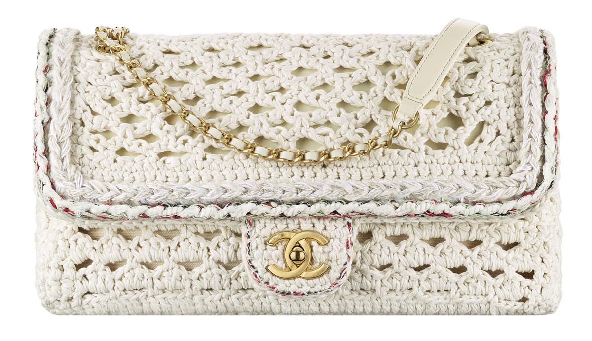 Chanel Cuba White macrame bag with a CC lock
